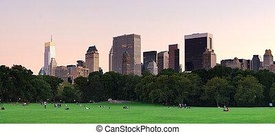 central, crépuscule, parc, panorama, ville, york, nouveau