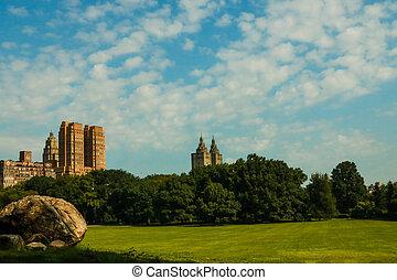 central, ensoleillé, parc, jour, york, nouveau, city.