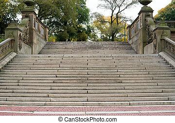 central, escalier, parc, ny, terrasse, bethesda