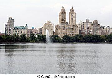 central, lac, ville parc, york, nouveau
