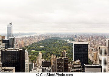 central, vue, parc, aérien, york, nouveau