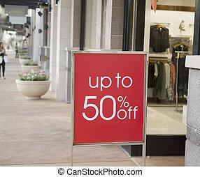 centre commercial, signe vente, dehors, magasin