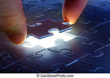 c'est, puzzle, bas, endroit, venir, morceau