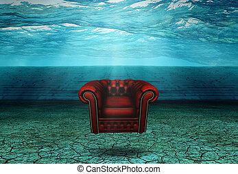 chaise, flotte, ruines, désert, submergé