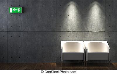 chaises, béton, conception intérieur, mur