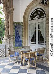 chaises, table, balcon