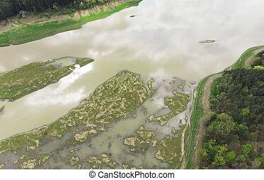 champ, roumanie, aérien, marais, inondation, water., vue