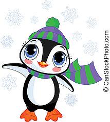 chapeau, hiver, manchots, s, mignon