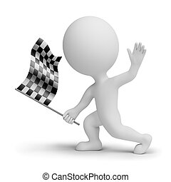 checkered, whitch, gens, drapeau, petit, 3d