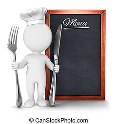chef cuistot, menu, blanc, 3d, gens