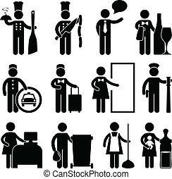 chef cuistot, serveur, chauffeur, bellman, maître d'hôtel