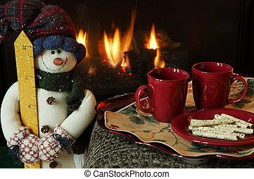 cheminée, hiver, chaleur
