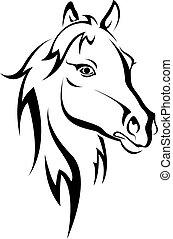 cheval noir, silhouette