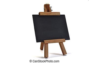 chevalet, tableau noir, text), isolé, (for, ton, 3d