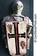 chevalier, armure, moyen-âge