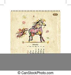 chevaux, art, january., conception, calendrier, ton, 2014
