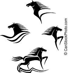 chevaux, symboles, noir