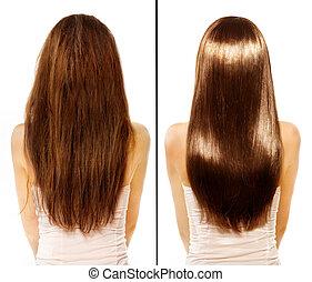 cheveux, endommagé, après, traitement, avant