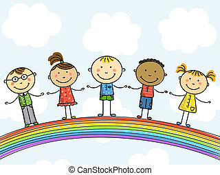 children., illustration., vecteur