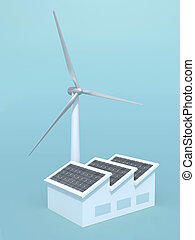 chimne, usine, solaire, instead, turbine, panneaux, vent