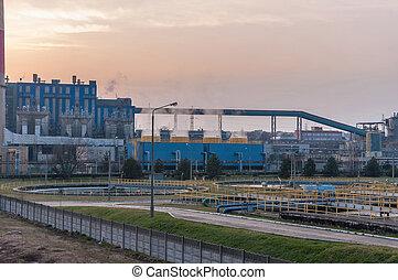 chp, bâtiments, industriel, crépuscule