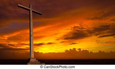 chrétien, arrière-plan., sky., croix, religion, coucher soleil