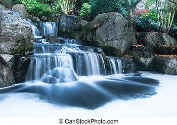 chute eau, oriental, paysage