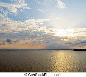 ciel coucher soleil, calme, nuageux, sea.