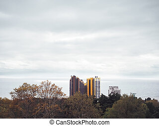 ciel, highrise, fond, contre, bâtiments, nuageux, arbres, automne, mer, solitaire