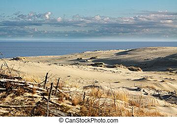 ciel, plage sable, dune, nuageux