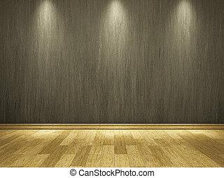 ciment, mur, plancher, bois