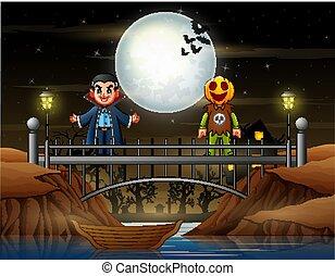 citrouille, masque, pont, debout, vampire, gens, déguisement, heureux