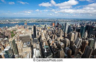 city., york, cityscape, nouveau, manhattan, vue