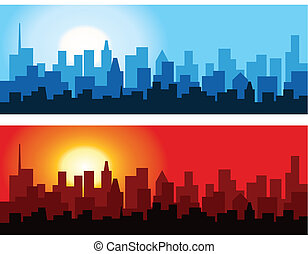 cityscape, aube, crépuscule
