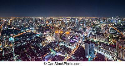 cityscape, bangkok, nuit