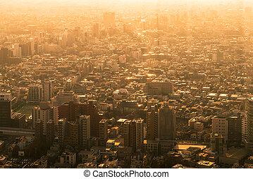 cityscape, coucher soleil, tokyo