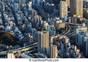 cityscape, japon, coucher soleil, tokyo
