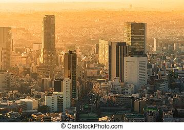 cityscape, japon, horizon, coucher soleil, tokyo