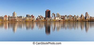 cityscape, parc, central, manhattan, réservoir