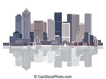 cityscape, urbain, fond, art