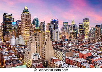 cityscape, york, midtown, nouveau, ville