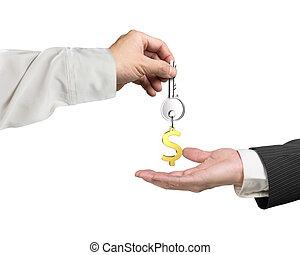 clã©, main, dollar, porte-clés, 3d, une, rendre, autre, main, donner, signe