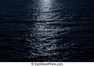 clair lune, surface eau, nuit