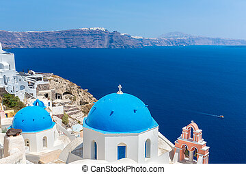 cloche, santorini, tour, île, grec, coupoles, crète, mer, classique, île, vue, spinalonga, méditerranéen, greece., la plupart, célèbre, église, orthodoxe