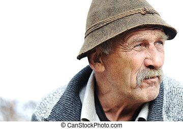 closeup, artistique, gris, homme photo, vieilli, moustache