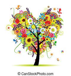 coeur, été, floral, arbre, forme