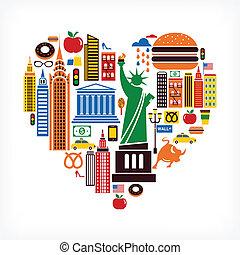 coeur, amour, icônes, beaucoup, -, forme, vecteur, york, nouveau