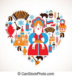 coeur, amour, icônes, -, vecteur, russie