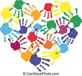 coeur, caractères, coloré, main, forme, enfant