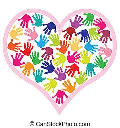 coeur, caractères, enfants, main